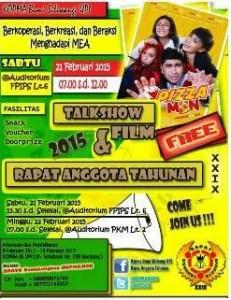 Acara Rapat Anggota Tahunan Kopma-BS Universitas Pendidikan Indonesia (UPI) ke-XXIX akan dimeriahkan Talk Show Film.