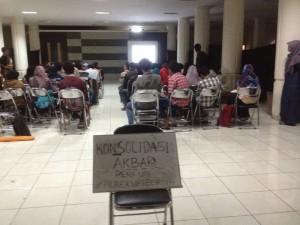 Suasana Konsolidasi Ormawa yang digelar BEM Rema UPI terkait Pilrek UPI di Gedung Geugeut-Winda (PKM) UPI, Kamis (9/4).